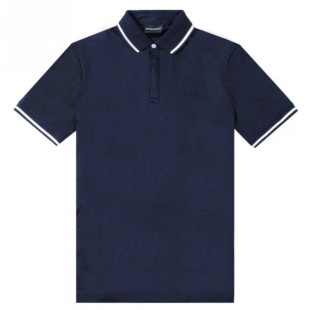 Emporio Armani Mercerised Polo Colour: NAVY, Size: EXTRA EXTRA LARGE