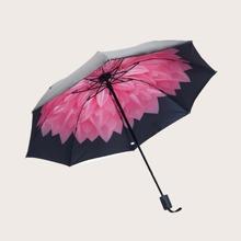 1pc Flower Print Vinyl Umbrella