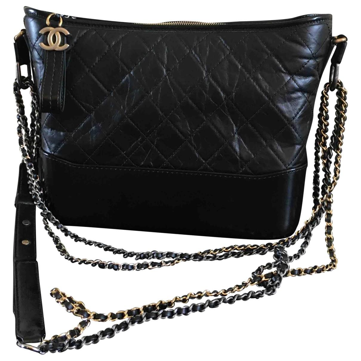 Chanel Gabrielle Handtasche in  Schwarz Leder