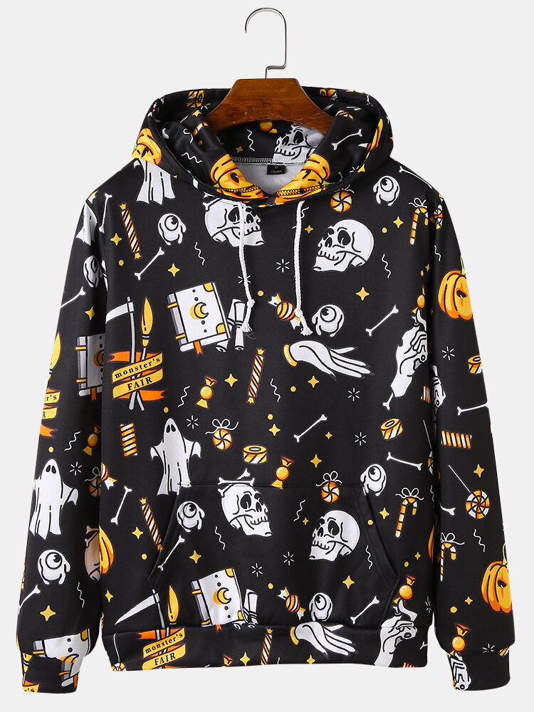 Mens All Over Skull Print Halloween Loose Drawstring Hoodies With Kangaroo Pocket