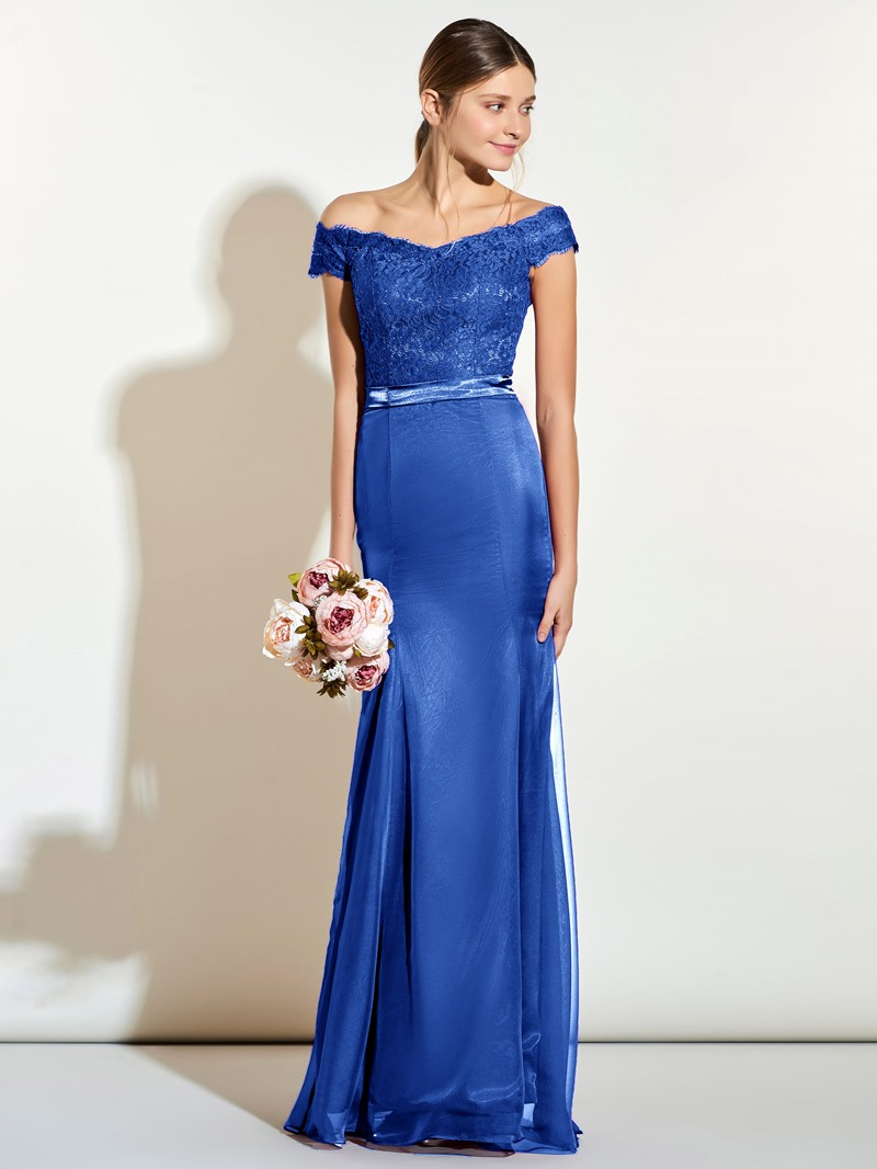Ericdress Off The Shoulder Sashes Lace Bridesmaid Dress