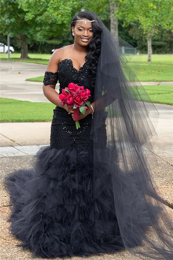 De moda fuera del hombro perlas brillantes vestidos de baile | Fit and Flare Tulle Ruffles Vestidos de noche