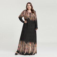 Vestido tunico maxi con estampado de lunares y pincelada - grande