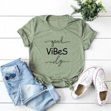 Grosse Grossen - T-Shirt mit Buchstaben Grafik und rundem Kragen