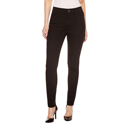 St. John's Bay Womens Mid Rise Skinny Fit Jean, 16 , Black