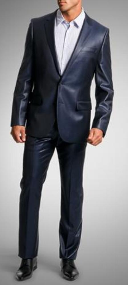 Shiny sharkskin Single Breasted Mens Suit SideVented Navy Blue