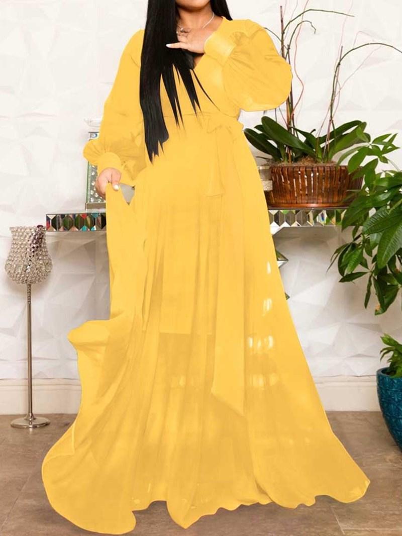Ericdress Long Sleeve V-Neck Floor-Length Expansion Mid Waist Dress