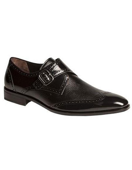 Mens Black Strap Woven Calfskin Wingtip Oxford Leather Shoes Brand