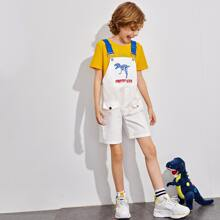 Boys Dinosaur Skeleton and Letter Graphic Flap Detail Overall Shorts