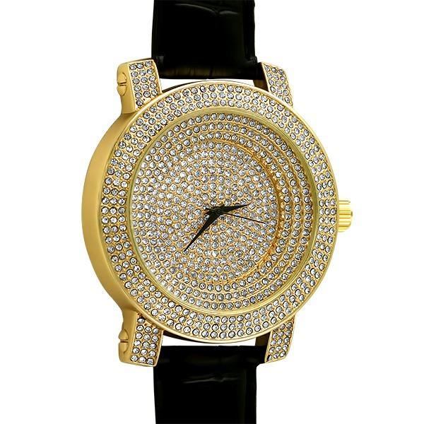 Iced Out Bling Bling Stadium Gold Black Leather Watch