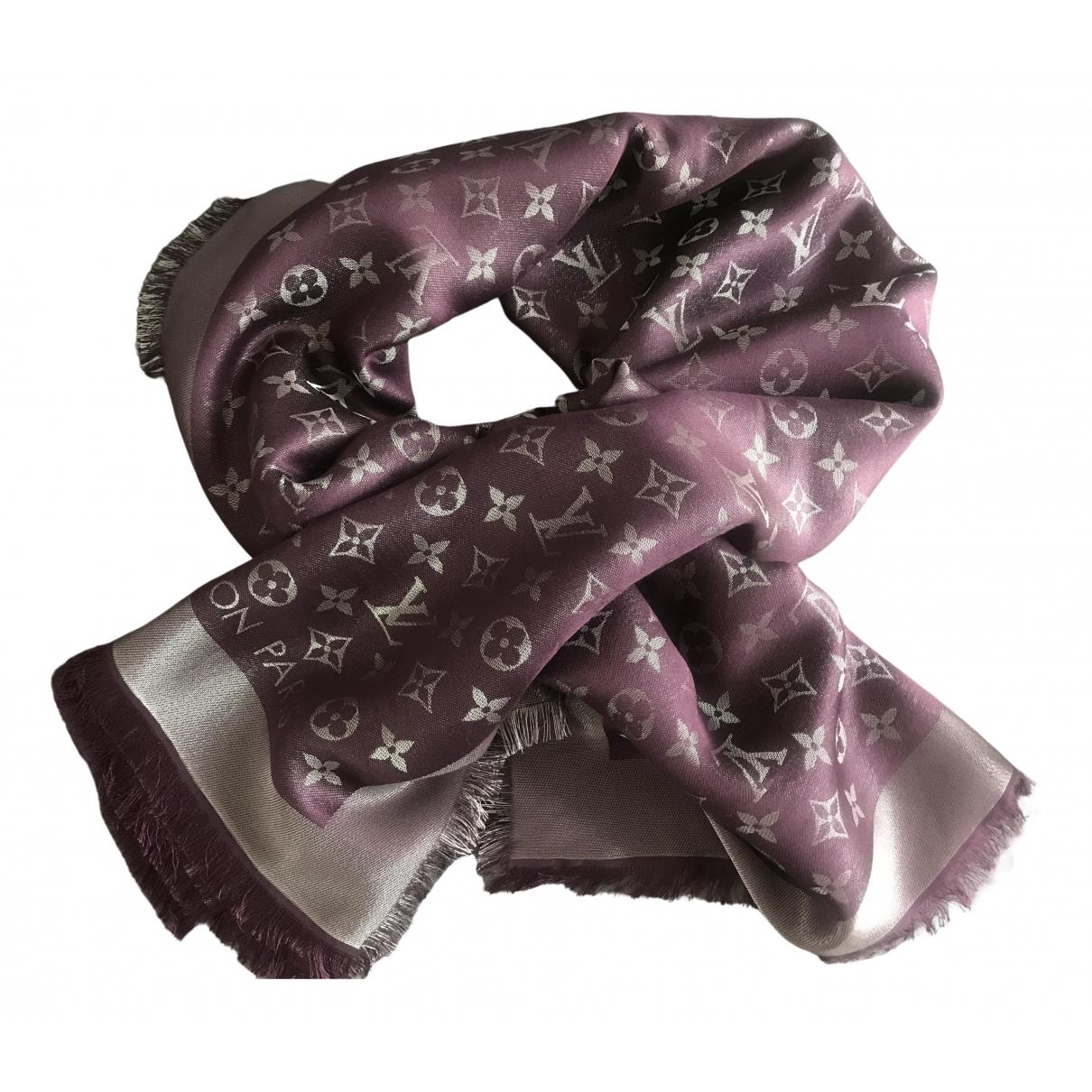 Louis Vuitton Chale Monogram shine Schal in  Lila Seide