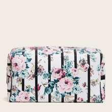 Bolsa de maquillaje floral de rayas