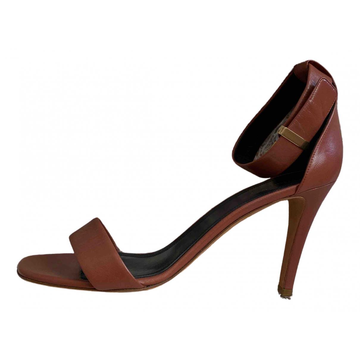 Celine - Sandales   pour femme en cuir - camel