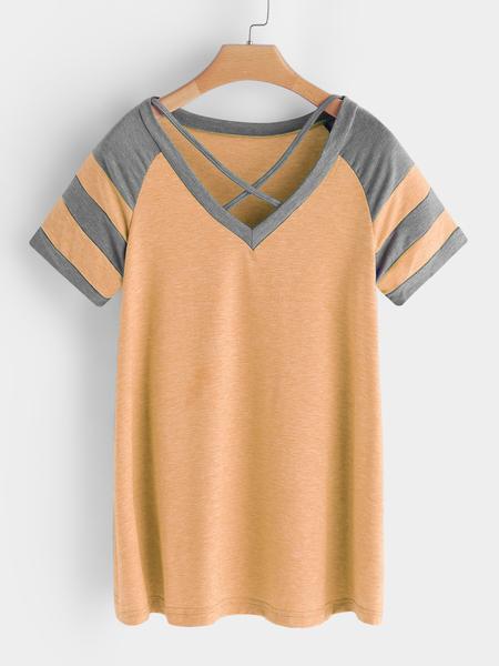 Yoins Orange Stripe V-neck Short Sleeves T-shirts