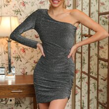 One Shoulder Ruched Glitter Bodycon Dress