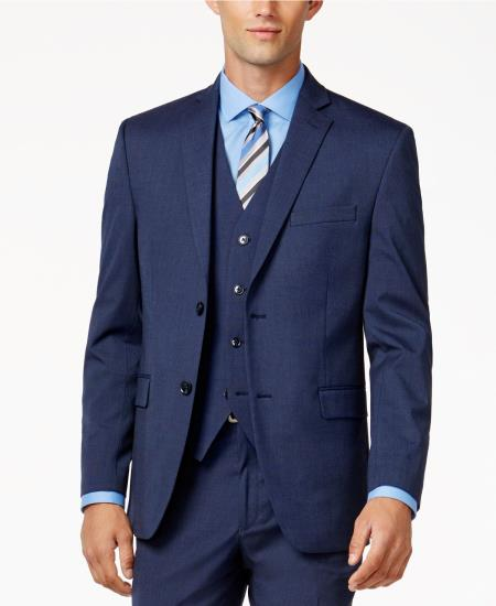 Men's Single Breasted 2 Button Medium Blue Slim-Fit Fully lined Jacket
