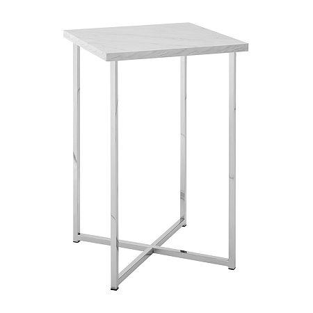 Walker Edison Modern End Table, One Size , White