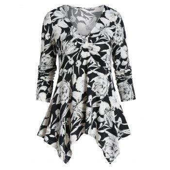 V Neck Floral Print Ruched Handkerchief T-shirt