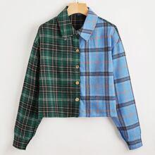 Crop Bluse mit Farbblock, Plaid Muster und Knopfen