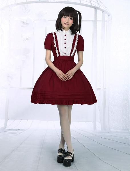 Milanoo Oscuro Rojo Algodon Lolita Enterizo Vestido Cortas Mangas