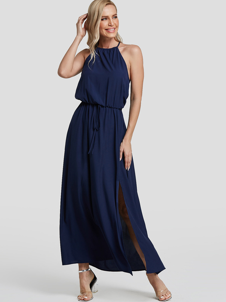 Yoins Navy Self-tie Design Halter Slit Hem Maxi Dress