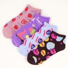 4pairs Fruit Pattern Socks