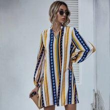 Tunika Kleid mit eingekerbtem Kragen und Stamm & Streifen Muster