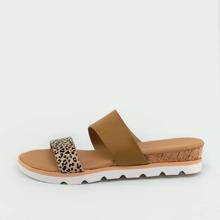 Cheetah Print Open Toe Flatform Slide Sandals