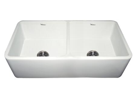 WH3719-WHITE Duet reversible double bowl fireclay sink with smooth front