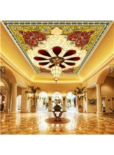 3D Red Background Golden Floral Pattern PVC Waterproof Sturdy Eco-friendly Self-Adhesive Ceiling Murals