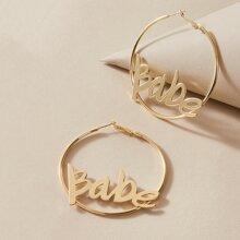 Letter Design Hoop Earrings