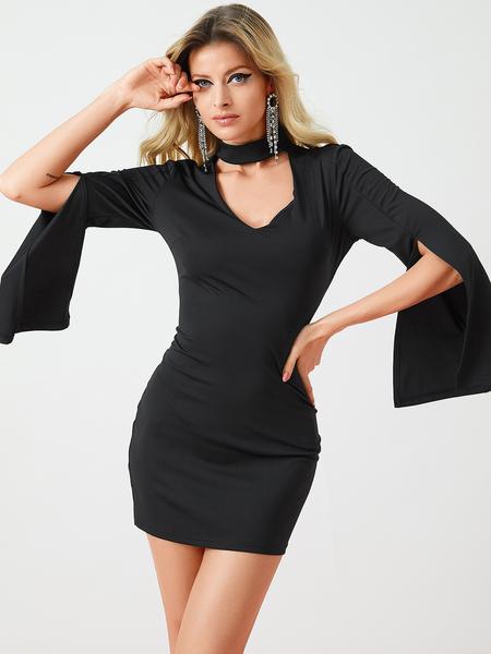 Yoins Black Chocker V-neck Slit Bell Sleeves Dress