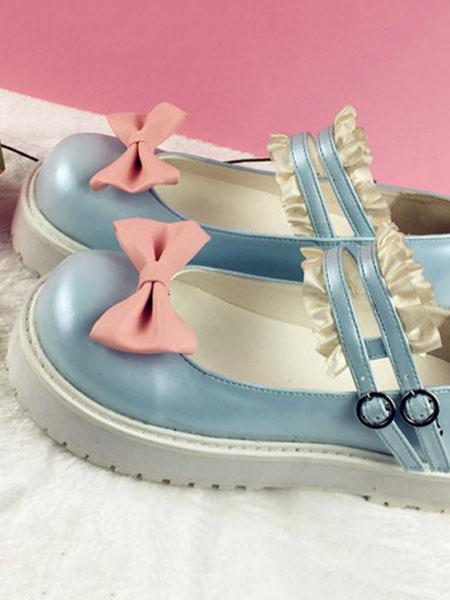 Milanoo Kawaii Lolita Shoes Square Toe PU Shoes