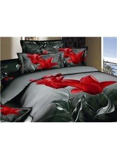 Elegant Red Tulip Print 2 Piece Cotton Pillow Cases