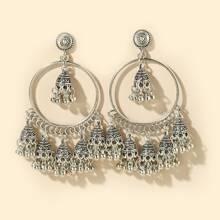 Round Ball Tassel Jhumka Earrings