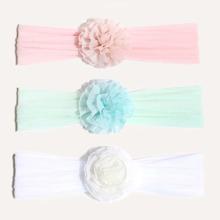 3 Stuecke Baby Haarband mit Blumen Dekor