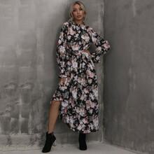 A-Linie Kleid mit Ruesche am Kragen, Blumen Muster und Selbstband