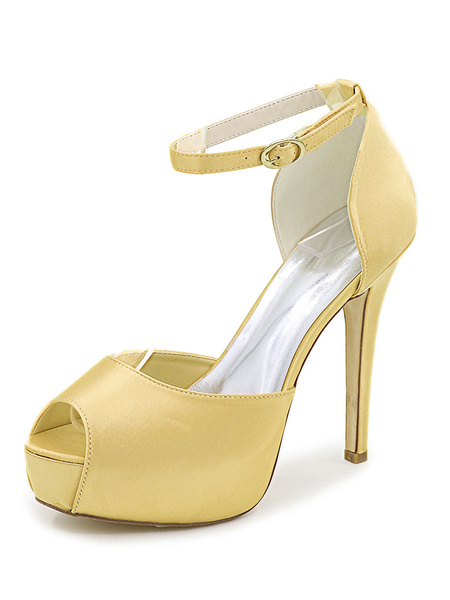 Milanoo Womens Wedding Shoes Satin Peep Toe Stiletto Heel Platform Bridal Shoes
