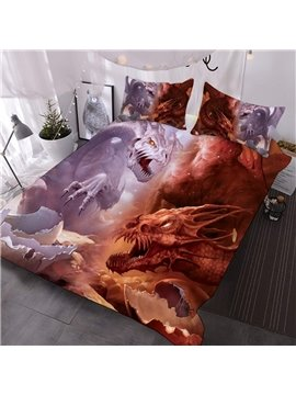 Red Dragon And Purple Dragon Printed 3-Piece Comforter Sets