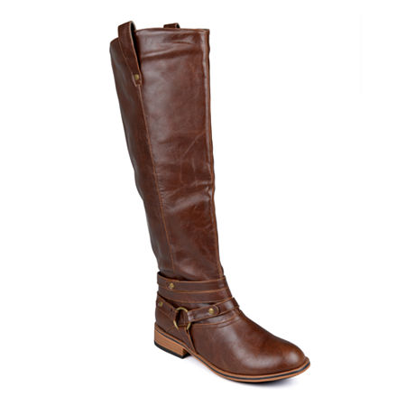 Journee Collection Womens Walla Wide Calf Riding Boots, 9 Medium, Brown