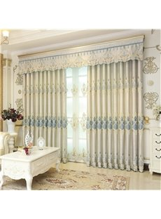 Noble Beige Color with Classical Damask Patterns Decorative and Shading Curtain