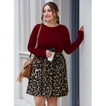 Zweifarbiges A-Linie Kleid mit Kontrast Leopard Muster