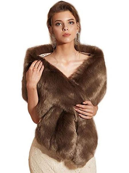 Milanoo Wedding Shawl Wrap Faux Fur Stole Bridal Cape For Winter