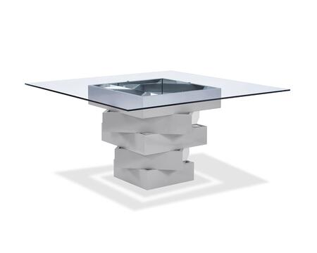 320783 Dining Table  High Gloss Gray Lacquer Geometric Base with Mirrors  12Mm Clear Glass