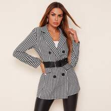 Notched Collar Buttoned Front Gingham Blazer Without Belt