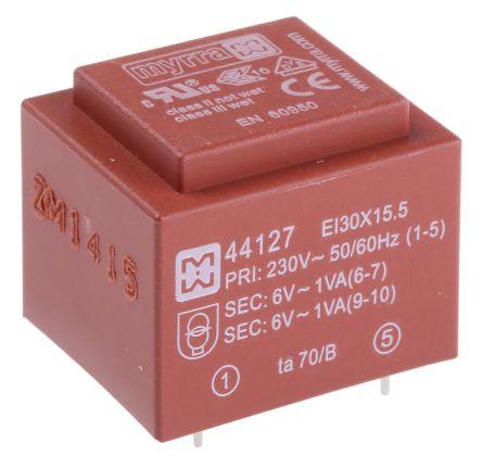 Myrra 6V ac 2 Output Through Hole PCB Transformer, 2VA