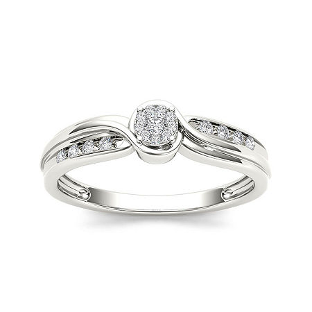 1/10 CT. T.W. Diamond 10K White Gold Engagement Ring, 7 1/2 , No Color Family
