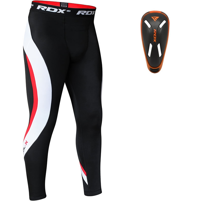 RDX Compression Pantalons de Compression and Coquille Protege Moyenne  Gris Neoprene