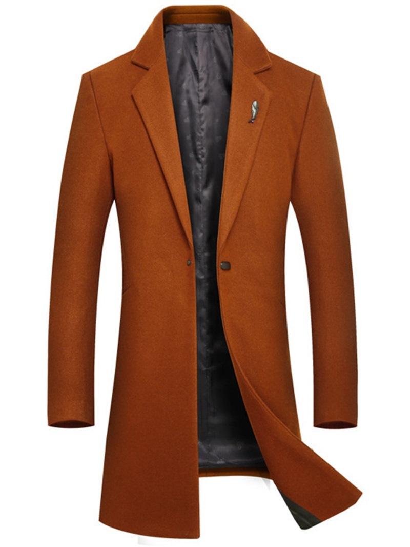 Ericdress Plain Mid-Length Slim One Button Mens Wool Coats