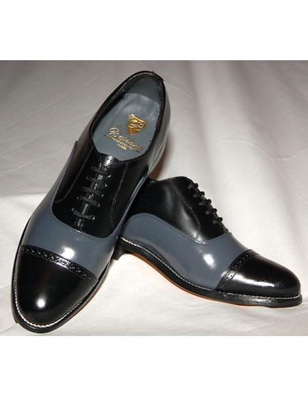 Mens Leather Sole 5 Eyelet Lacing Black~Grey Shoes